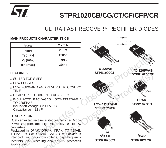 ST diodes datasheet  DIY Switch-mode Constant Current Supply